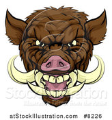 Vector Illustration of a Tough Brown Razorback Boar Mascot Head by AtStockIllustration