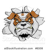 Vector Illustration of a Tough Bulldog Breaking Through a Wall by AtStockIllustration