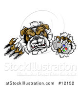 Vector Illustration of a Tough Bulldog Mascot Holding a Video Game Controller and Breaking Through a Wall by AtStockIllustration