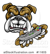 Vector Illustration of a Tough Bulldog Mascot Holding a Video Game Controller by AtStockIllustration