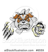 Vector Illustration of a Tough Bulldog Monster Clawing Through a Wall by AtStockIllustration