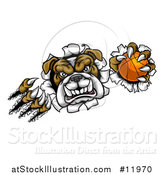 Vector Illustration of a Tough Bulldog Monster Shredding Through a Wall with a Basketball in One Hand by AtStockIllustration