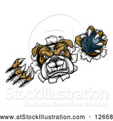 Vector Illustration of a Tough Bulldog Monster Shredding Through a Wall with a Bowling Ball in One Hand by AtStockIllustration