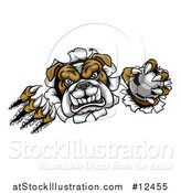 Vector Illustration of a Tough Bulldog Monster Shredding Through a Wall with a Soccer Ball in One Hand by AtStockIllustration