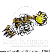 Vector Illustration of a Tough Bulldog Monster Shredding Through a Wall with a Tennis Ball in One Hand by AtStockIllustration