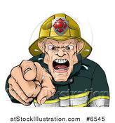 Vector Illustration of a Tough Chief Fireman Pointing Outwards and Shouting by AtStockIllustration