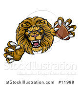 Vector Illustration of a Tough Clawed Male Lion Monster Holding a Football by AtStockIllustration