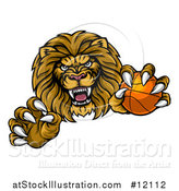 Vector Illustration of a Tough Clawed Male Lion Monster Mascot Holding a Basketball by AtStockIllustration