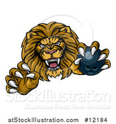 Vector Illustration of a Tough Clawed Male Lion Monster Mascot Holding a Bowling Ball by AtStockIllustration
