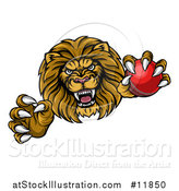 Vector Illustration of a Tough Clawed Male Lion Monster Mascot Holding a Cricket Ball by AtStockIllustration