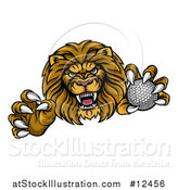 Vector Illustration of a Tough Clawed Male Lion Monster Mascot Holding a Golf Ball by AtStockIllustration