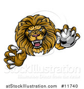 Vector Illustration of a Tough Clawed Male Lion Monster Mascot Holding a Soccer Ball by AtStockIllustration