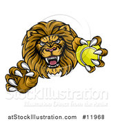 Vector Illustration of a Tough Clawed Male Lion Monster Mascot Holding a Tennis Ball by AtStockIllustration