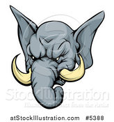 Vector Illustration of a Tough Elephant Mascot Head by AtStockIllustration