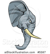 Vector Illustration of a Tough Elephant Mascot Head in Profile by AtStockIllustration