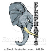 Vector Illustration of a Tough Gray Elephant Mascot Head and Text by AtStockIllustration