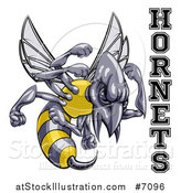 Vector Illustration of a Tough Hornet Sports Team Mascot Holding up Fists by Text by AtStockIllustration