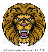 Vector Illustration of a Tough Male Lion Head Mascot by AtStockIllustration