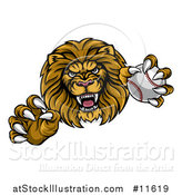 Vector Illustration of a Tough Male Lion Head Mascot Holding a Baseball by AtStockIllustration