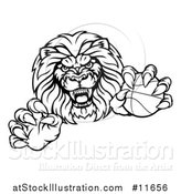 Vector Illustration of a Tough Male Lion Mascot Holding a Basketball by AtStockIllustration