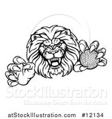 Vector Illustration of a Tough Male Lion Mascot Holding a Golf Ball by AtStockIllustration