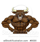 Vector Illustration of a Tough Muscular Brown Bull Man Mascot Flexing, from the Waist up by AtStockIllustration