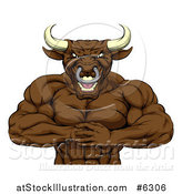 Vector Illustration of a Tough Muscular Bull Man Punching One Fist into a Palm by AtStockIllustration