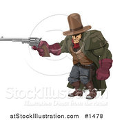 Vector Illustration of a Tough, Muscular Cowboy in a Hat and Cape, at the Ready with a Pistil by AtStockIllustration
