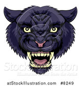 Vector Illustration of a Tough Roaring Black Panther Mascot Head by AtStockIllustration