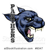 Vector Illustration of a Tough Roaring Black Panther Mascot Head with Text by AtStockIllustration