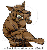 Vector Illustration of a Tough Vicious Muscular Brown Wolf Man Punching by AtStockIllustration