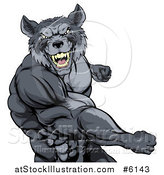 Vector Illustration of a Tough Vicious Muscular Wolf Man Punching by AtStockIllustration