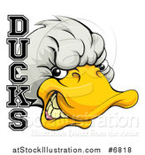 Vector Illustration of a Tough White Duck Mascot Head and Text by AtStockIllustration