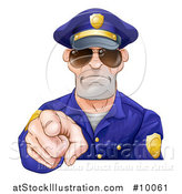 Vector Illustration of a Tough White Male Police Officer Wearing Sunglasses and Pointing Outwards by AtStockIllustration