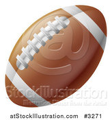 Vector Illustration of a Traditional American Football with White Lines and Laces by AtStockIllustration