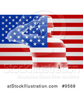 Vector Illustration of a Transparent Soldier Saluting over an American Flag by AtStockIllustration