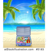 Vector Illustration of a Travel Suitcase on a Tropical Becah with Palm Trees by AtStockIllustration
