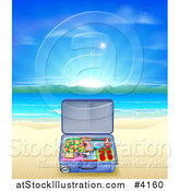 Vector Illustration of a Travel Suitcase Open on a Sandy Tropical Beach at Sunrise by AtStockIllustration