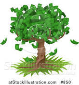 Vector Illustration of a Tree Growing an Abundant Amount of Dollar Bills, Symbolising Environmental Expenses, Trust Funds, Riches, Etc by AtStockIllustration