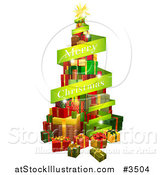 Vector Illustration of a Tree of Gifts and Merry Christmas Greeting Banner by AtStockIllustration