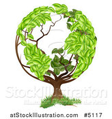 Vector Illustration of a Tree with a Leafy Earth Globe Canopy by AtStockIllustration