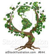 Vector Illustration of a Tree with Branches Growing in the Shape of the Earth with the America's Featured by AtStockIllustration