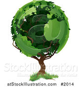 Vector Illustration of a Tree with Foliage in the Shape of Earth's Continents by AtStockIllustration