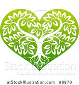 Vector Illustration of a Tree with Roots and Leafy Branches Inside a Gradient Green Heart by AtStockIllustration