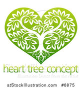 Vector Illustration of a Tree with Roots and Leafy Branches Inside a Gradient Green Heart over Sample Text by AtStockIllustration