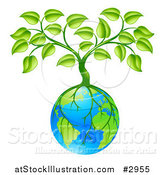 Vector Illustration of a Tree with Roots Growing Around Earth by AtStockIllustration
