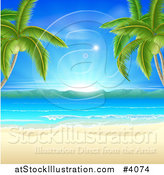 Vector Illustration of a Tropical Beach Framed by Palm Trees, with White Sand and Sunshine by AtStockIllustration