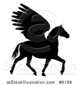 Vector Illustration of a Trotting Winged Pegasus Horse by AtStockIllustration