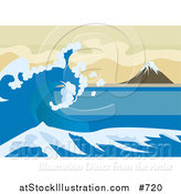 Vector Illustration of a Tsunami Wave near Mount Fuji, Inspired by the Great Wave off Kanagawa by Katsushika Hokusai by AtStockIllustration
