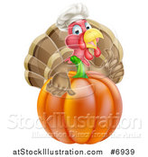 Vector Illustration of a Turkey Bird Chef Holding a Thumb up over a Thanksgiving Pumpkin by AtStockIllustration